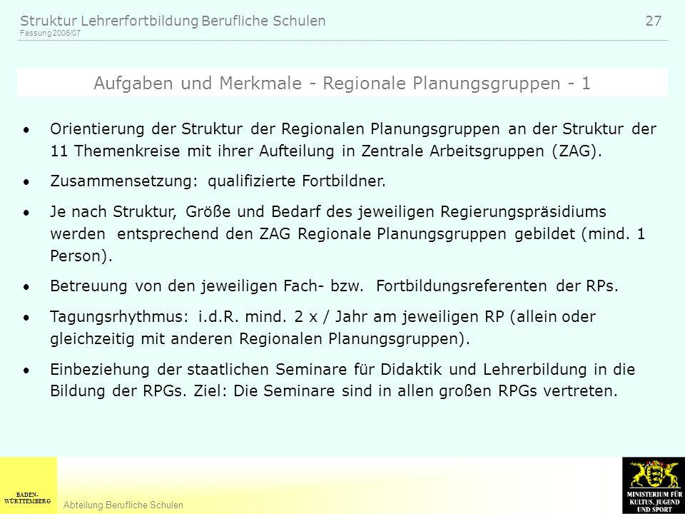 Aufgaben und Merkmale - Regionale Planungsgruppen - 1