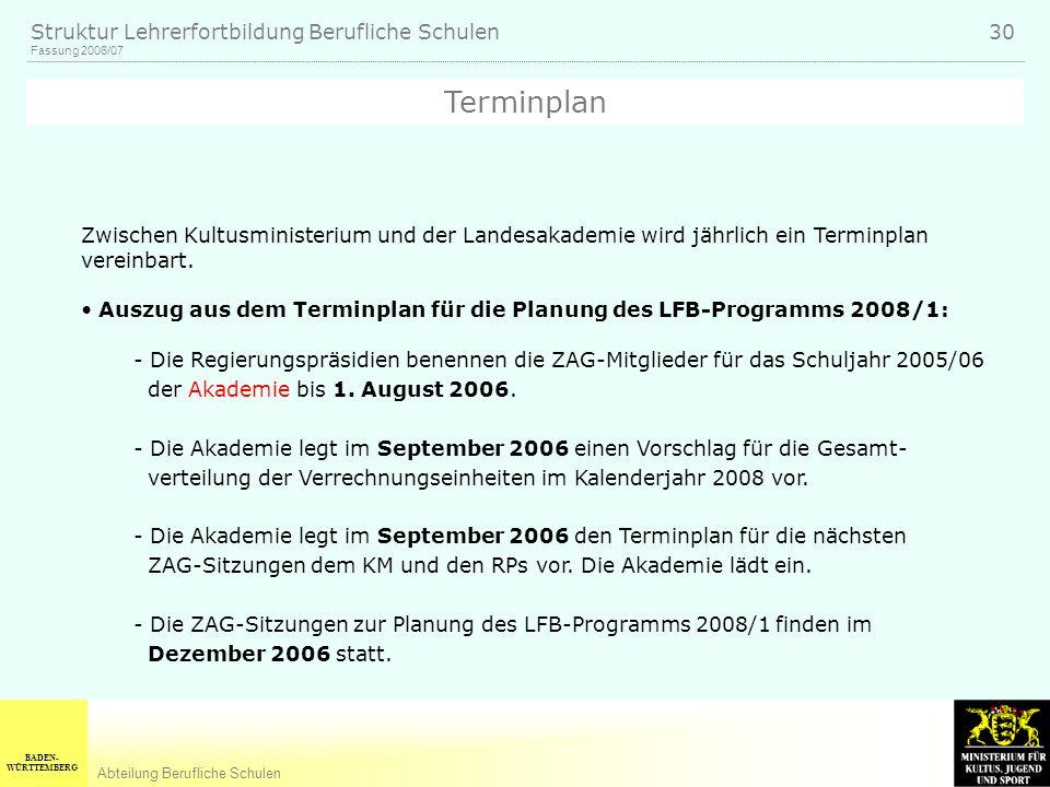 Terminplan Zwischen Kultusministerium und der Landesakademie wird jährlich ein Terminplan vereinbart.