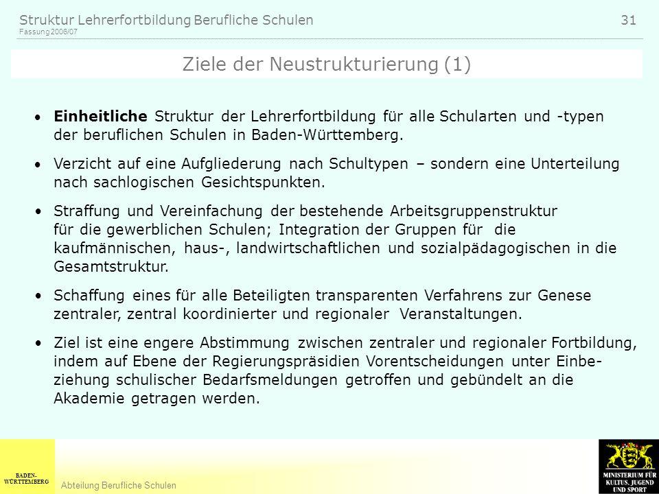 Ziele der Neustrukturierung (1)