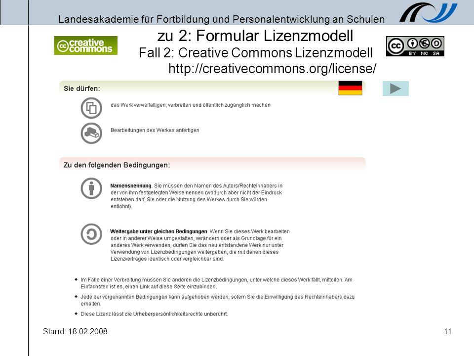 zu 2: Formular Lizenzmodell Fall 2: Creative Commons Lizenzmodell