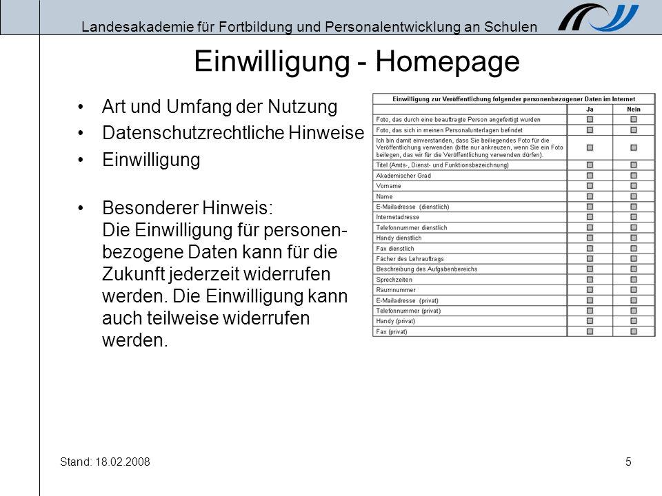 Einwilligung - Homepage