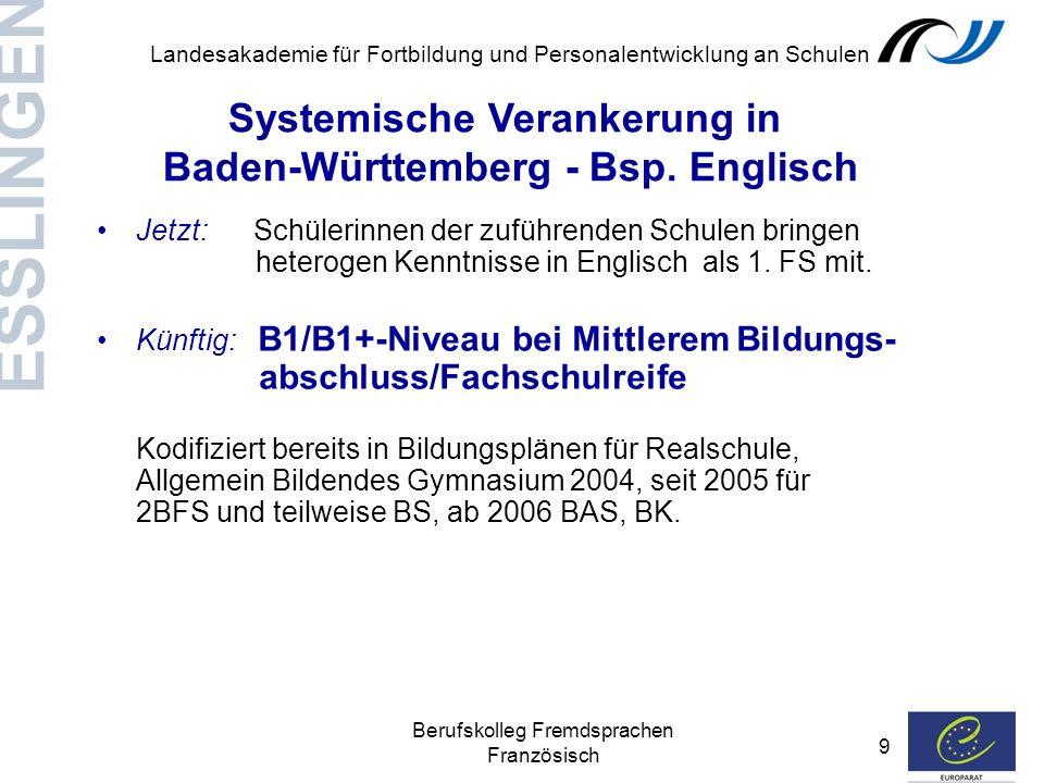 Systemische Verankerung in Baden-Württemberg - Bsp. Englisch