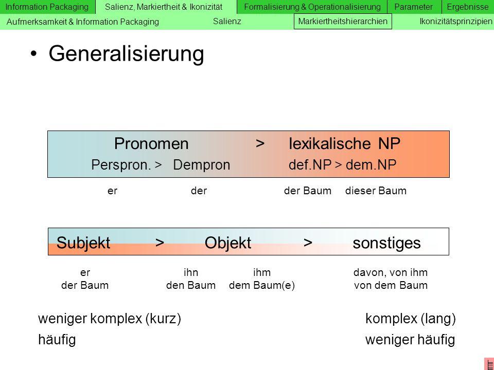 Generalisierung Pronomen > lexikalische NP