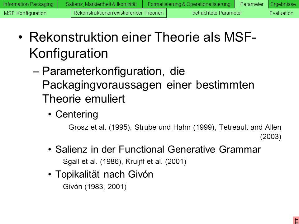 Rekonstruktion einer Theorie als MSF-Konfiguration