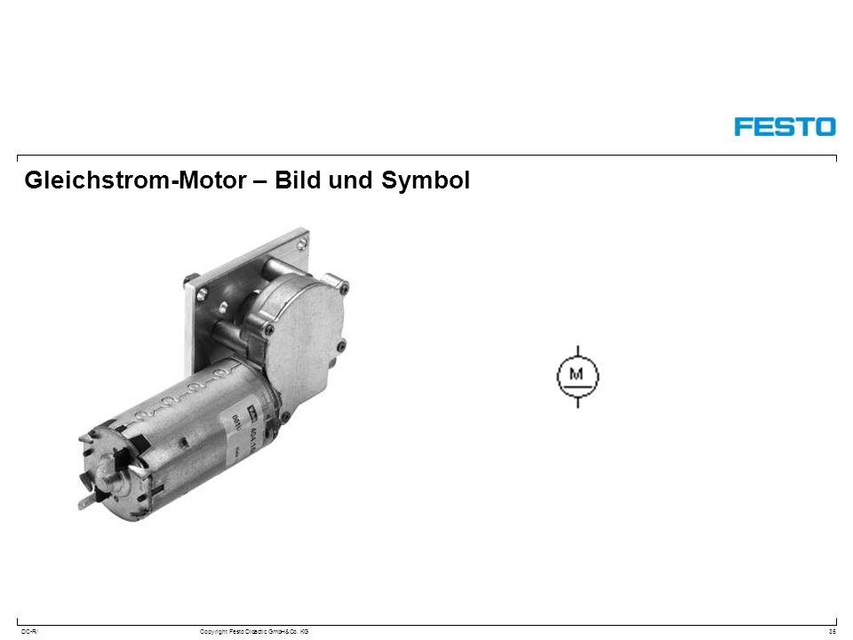 Gleichstrom-Motor – Bild und Symbol