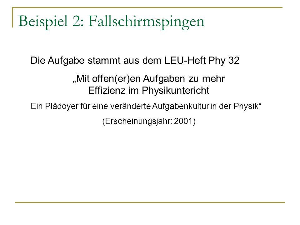 Beispiel 2: Fallschirmspingen