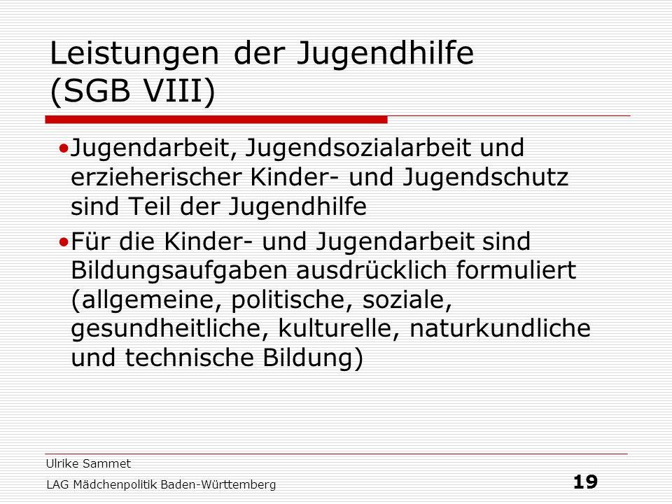 Leistungen der Jugendhilfe (SGB VIII)