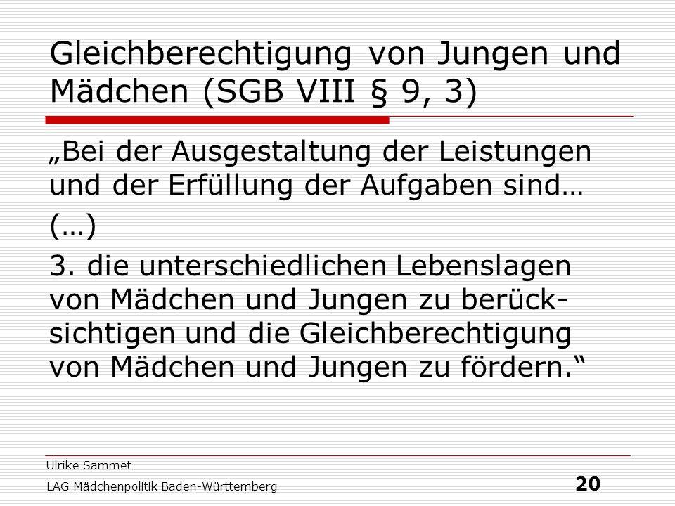 Gleichberechtigung von Jungen und Mädchen (SGB VIII § 9, 3)