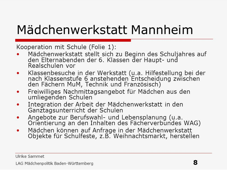 Mädchenwerkstatt Mannheim