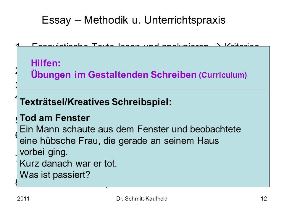 Essay – Methodik u. Unterrichtspraxis