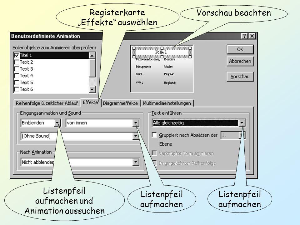 """Registerkarte """"Effekte auswählen Vorschau beachten"""