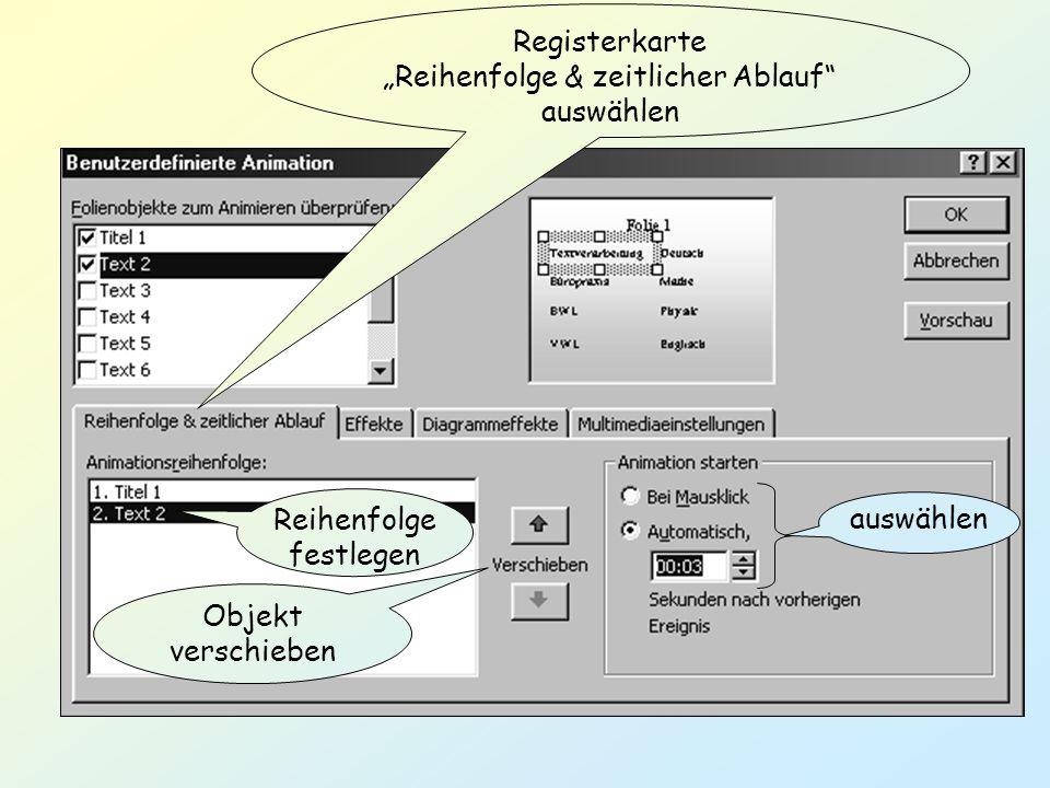 """Registerkarte """"Reihenfolge & zeitlicher Ablauf auswählen"""
