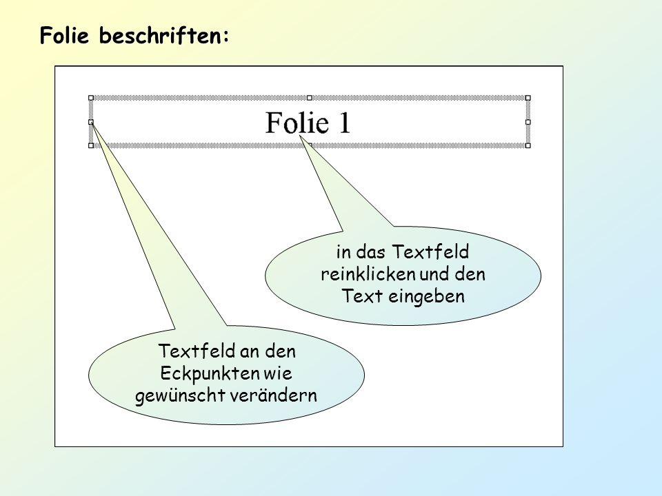 Folie beschriften: in das Textfeld reinklicken und den Text eingeben