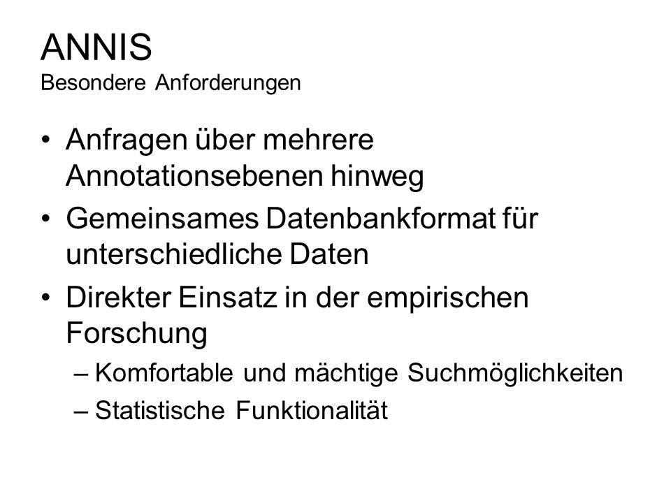 ANNIS Besondere Anforderungen