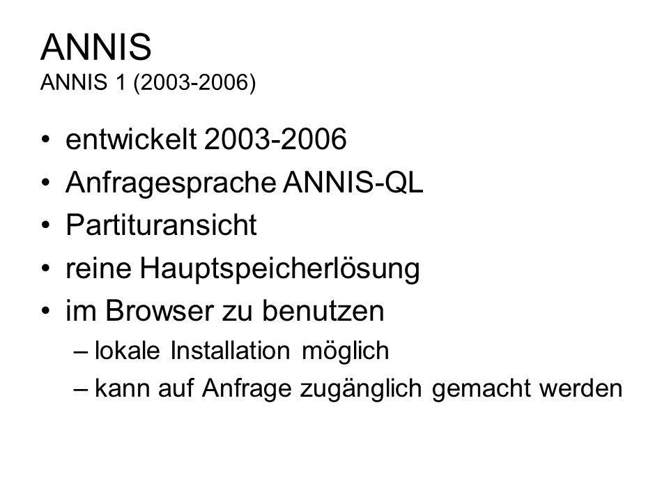 ANNIS ANNIS 1 (2003-2006) entwickelt 2003-2006 Anfragesprache ANNIS-QL