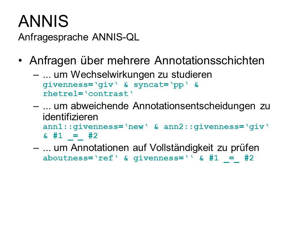 ANNIS Anfragesprache ANNIS-QL