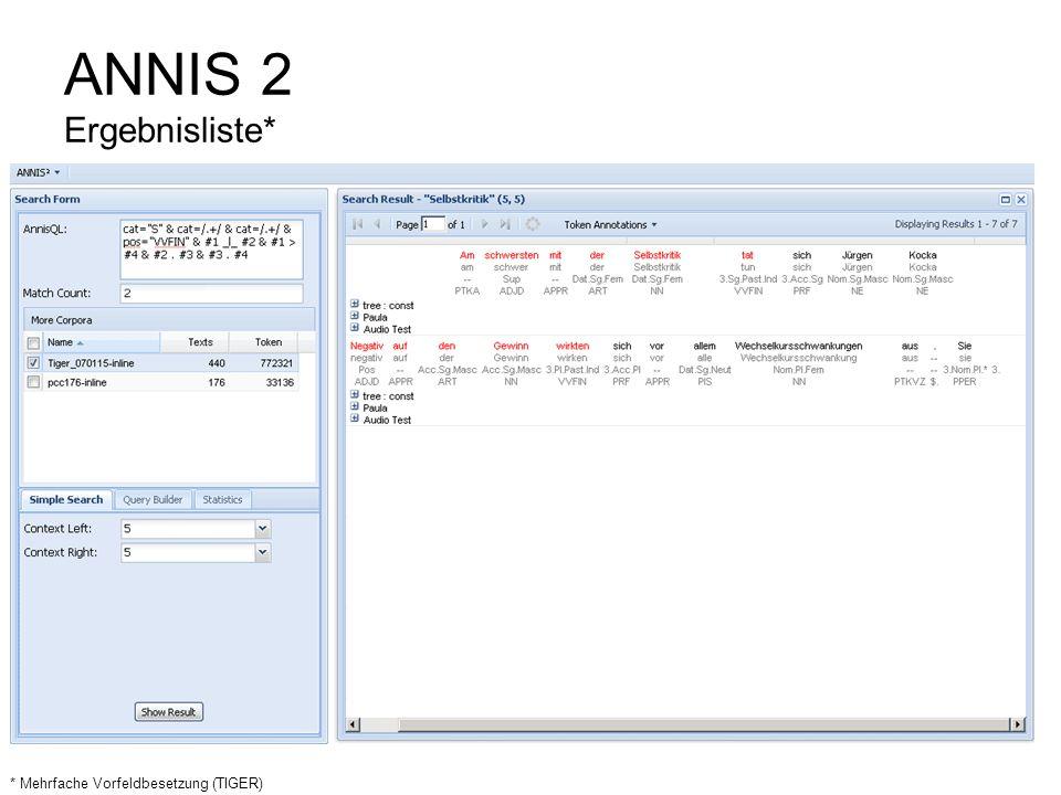 ANNIS 2 Ergebnisliste* * Mehrfache Vorfeldbesetzung (TIGER)
