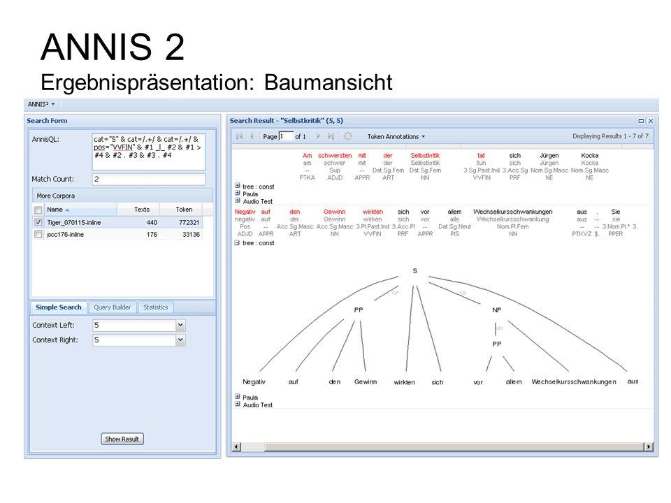 ANNIS 2 Ergebnispräsentation: Baumansicht
