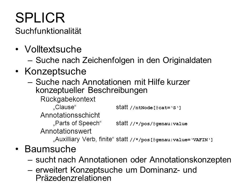 SPLICR Suchfunktionalität