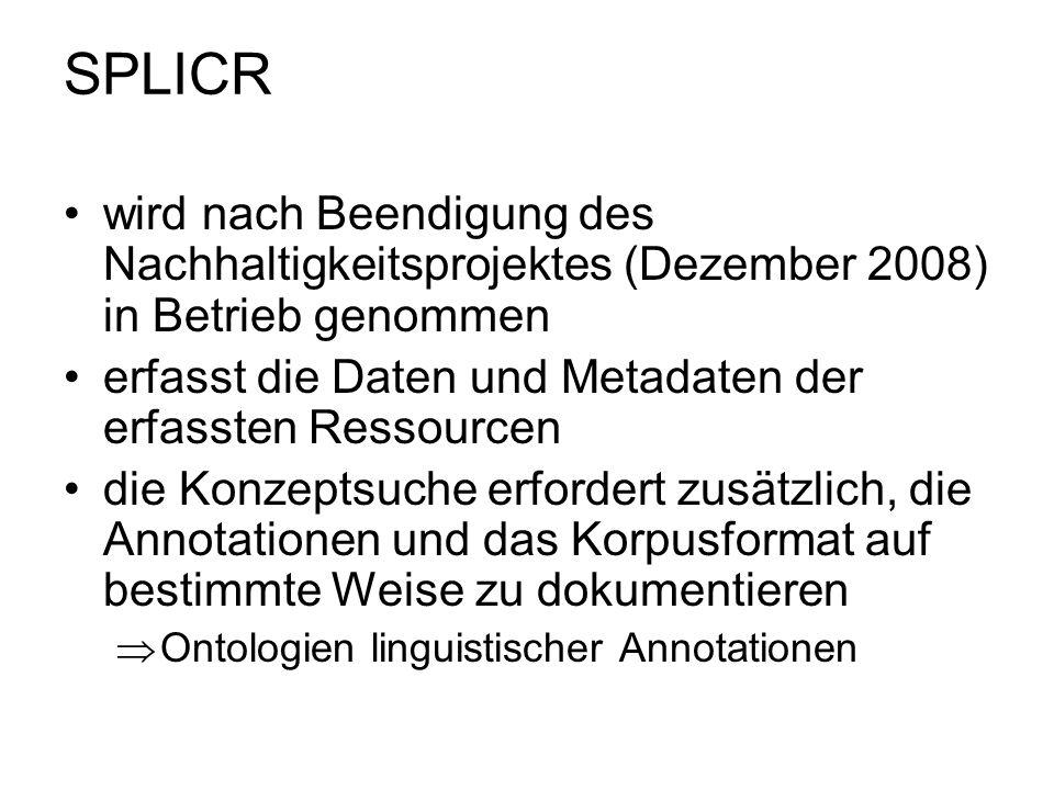 SPLICR wird nach Beendigung des Nachhaltigkeitsprojektes (Dezember 2008) in Betrieb genommen.