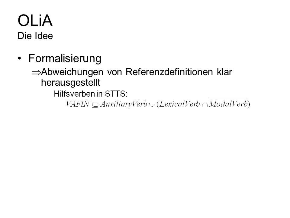 OLiA Die Idee Formalisierung XML-basierte Formalismen OWL/DL