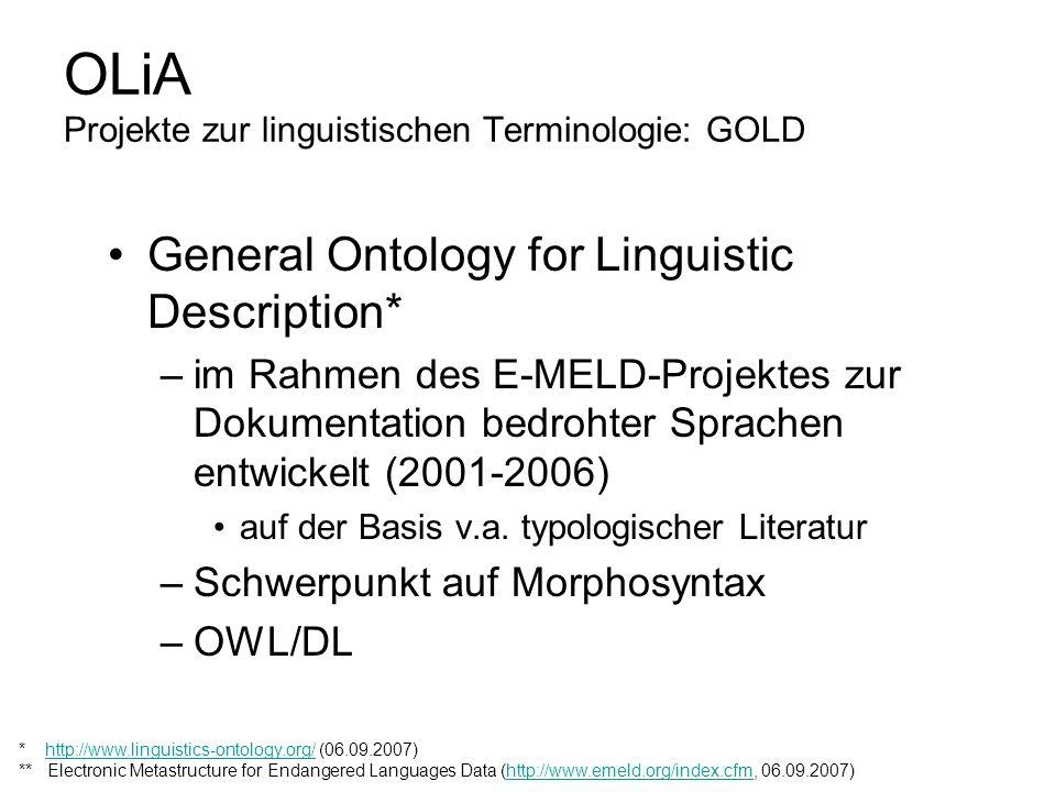OLiA Projekte zur linguistischen Terminologie: GOLD