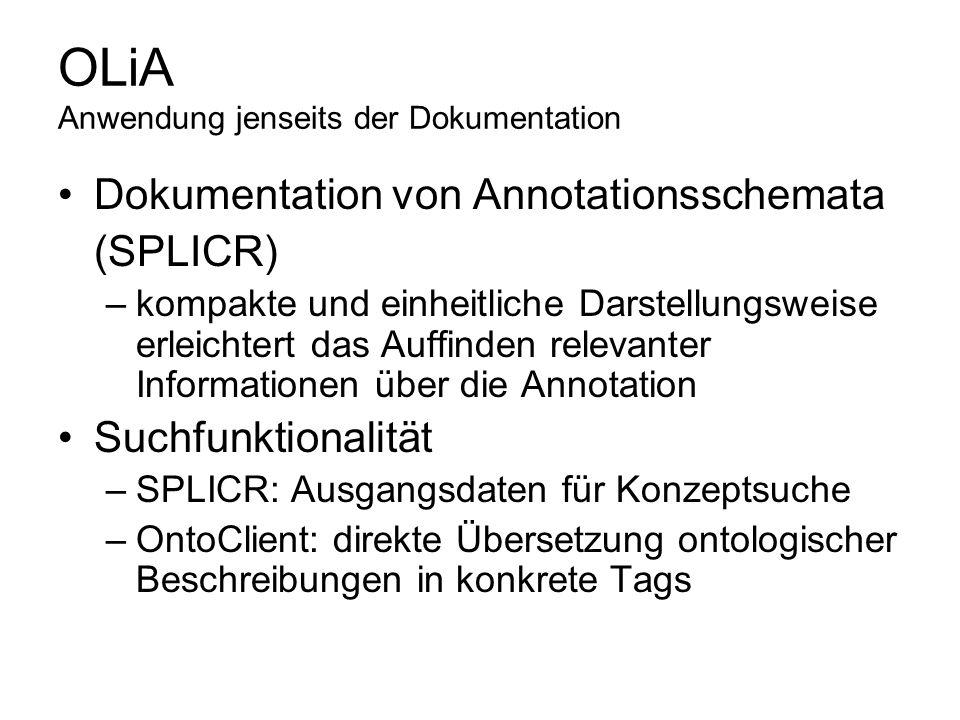 OLiA Anwendung jenseits der Dokumentation