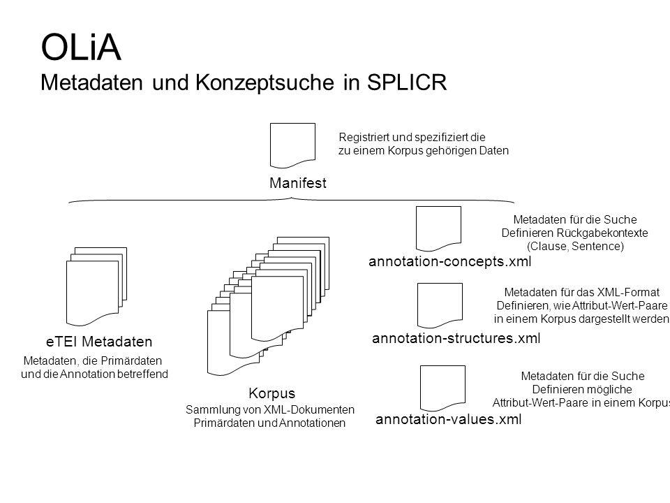 OLiA Metadaten und Konzeptsuche in SPLICR