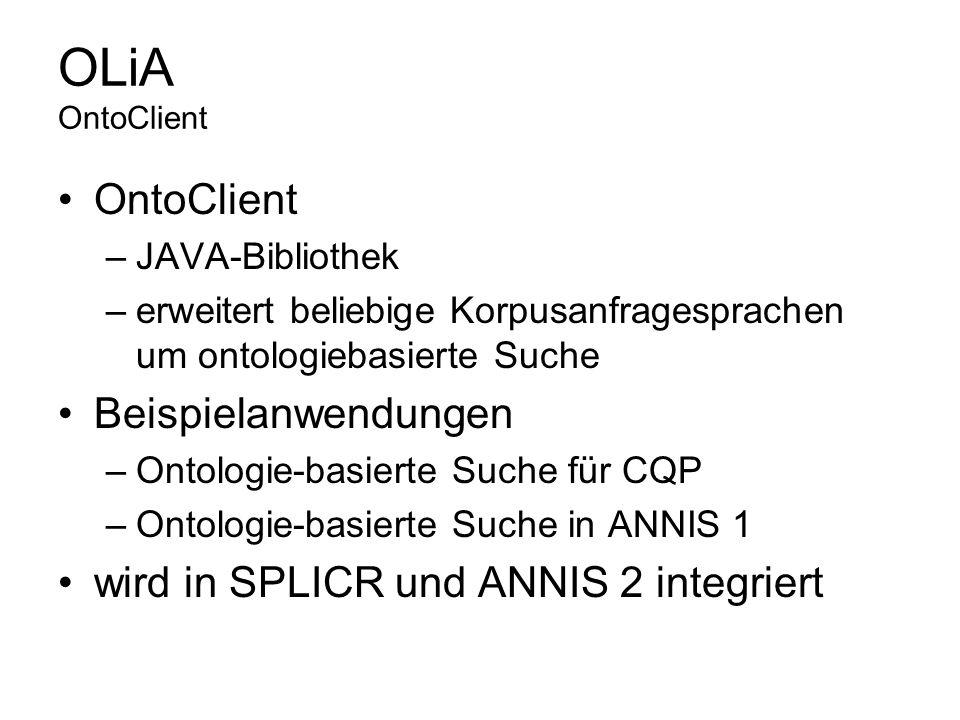 OLiA OntoClient OntoClient Beispielanwendungen
