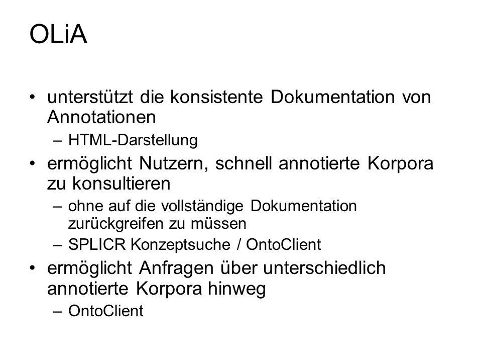 OLiA unterstützt die konsistente Dokumentation von Annotationen