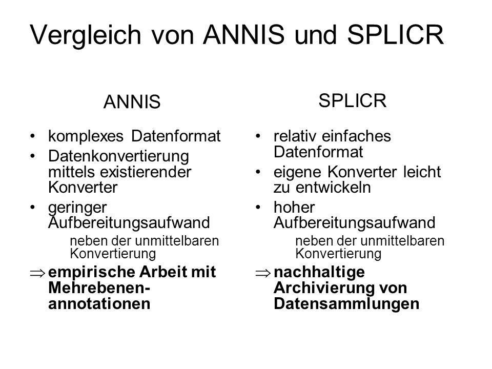 Vergleich von ANNIS und SPLICR