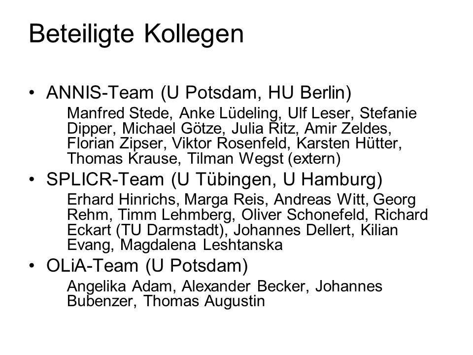 Beteiligte Kollegen ANNIS-Team (U Potsdam, HU Berlin)