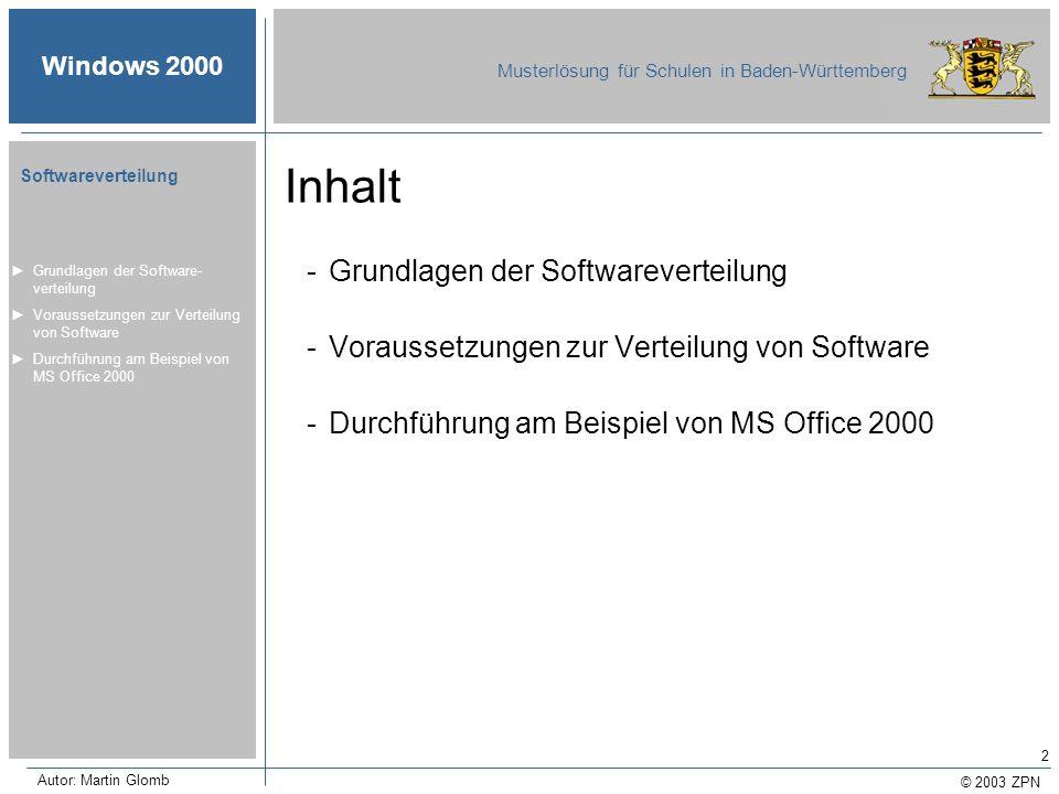 Inhalt Grundlagen der Softwareverteilung