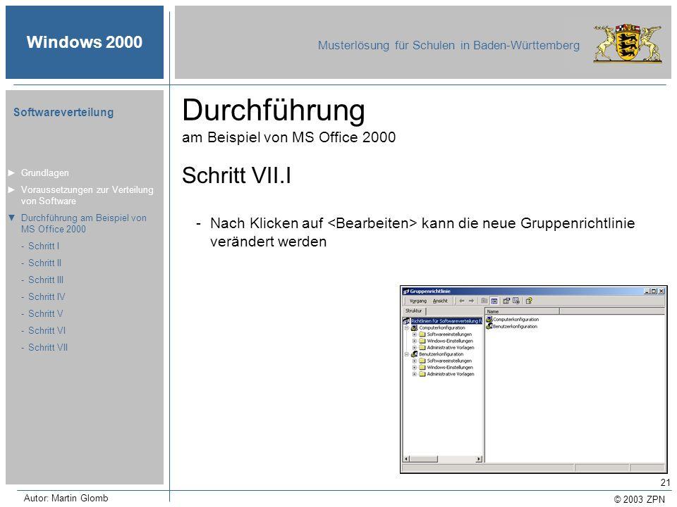 Durchführung am Beispiel von MS Office 2000
