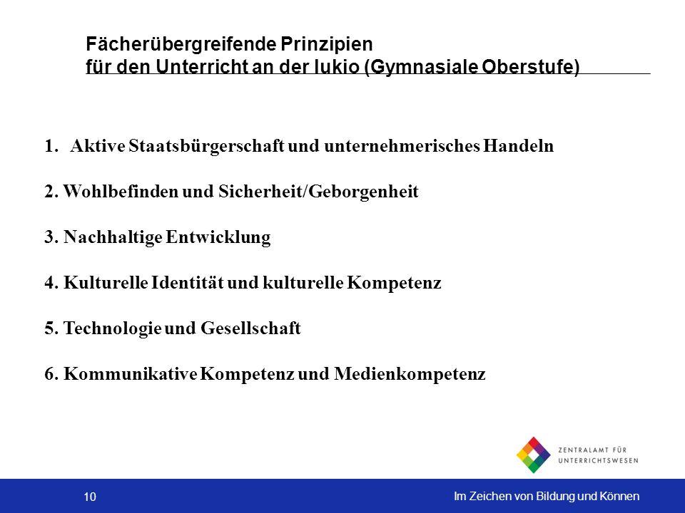 Fächerübergreifende Prinzipien für den Unterricht an der lukio (Gymnasiale Oberstufe)