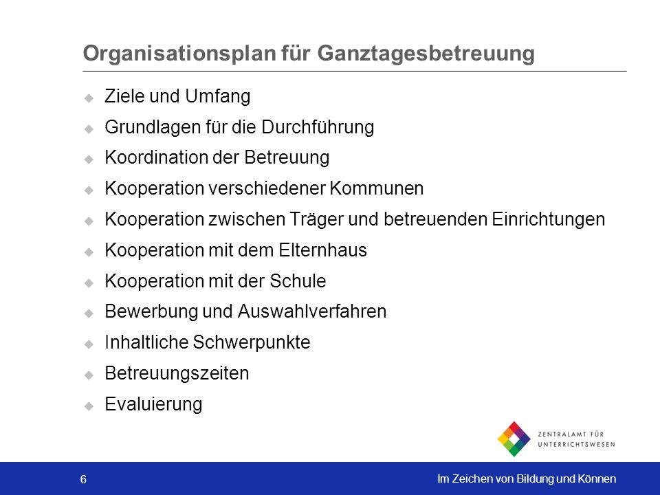 Organisationsplan für Ganztagesbetreuung