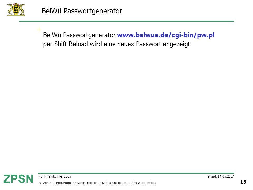 BelWü Passwortgenerator