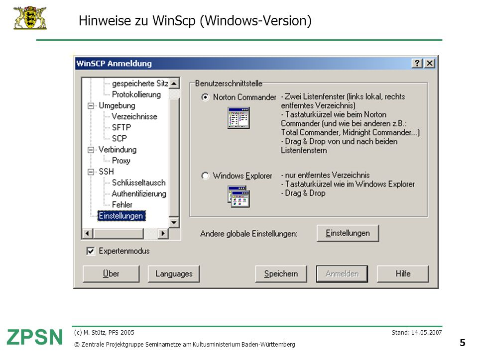 Hinweise zu WinScp (Windows-Version)