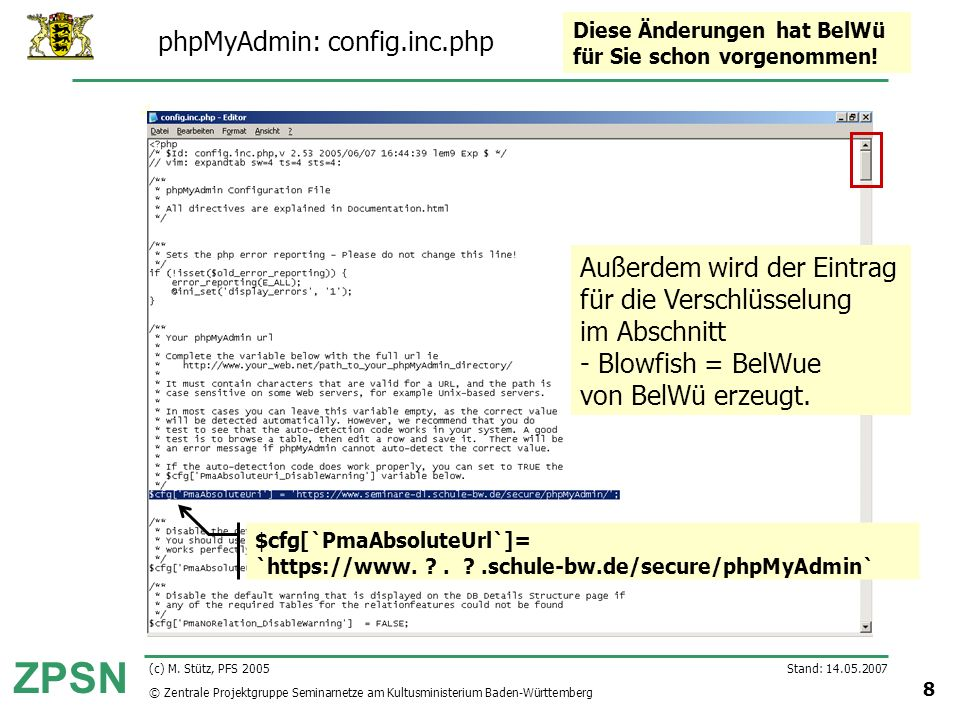 phpMyAdmin: config.inc.php