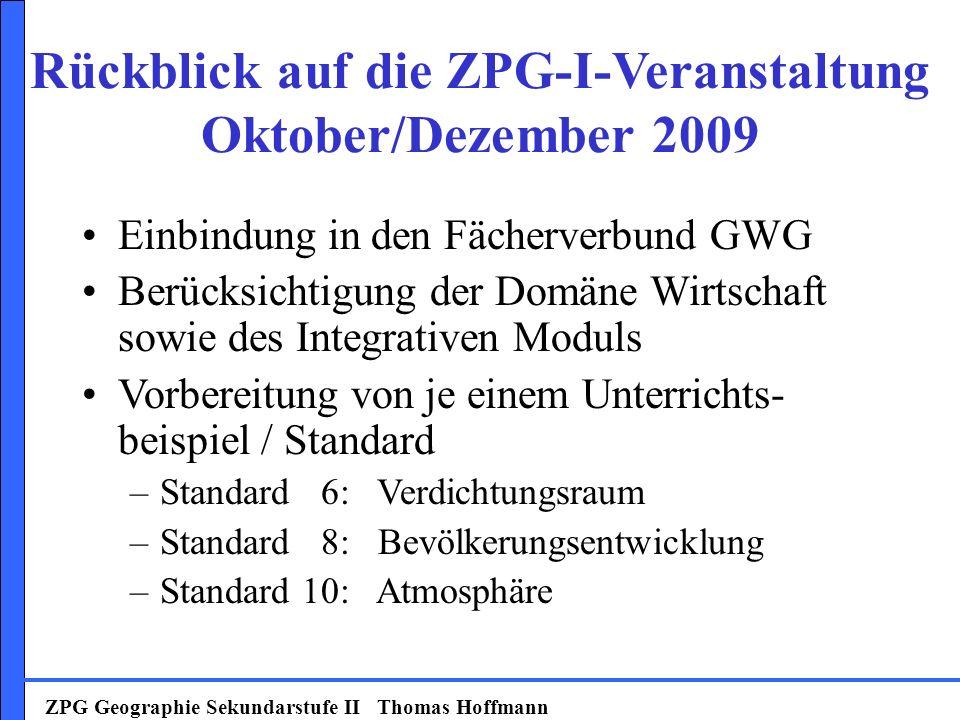 Rückblick auf die ZPG-I-Veranstaltung Oktober/Dezember 2009
