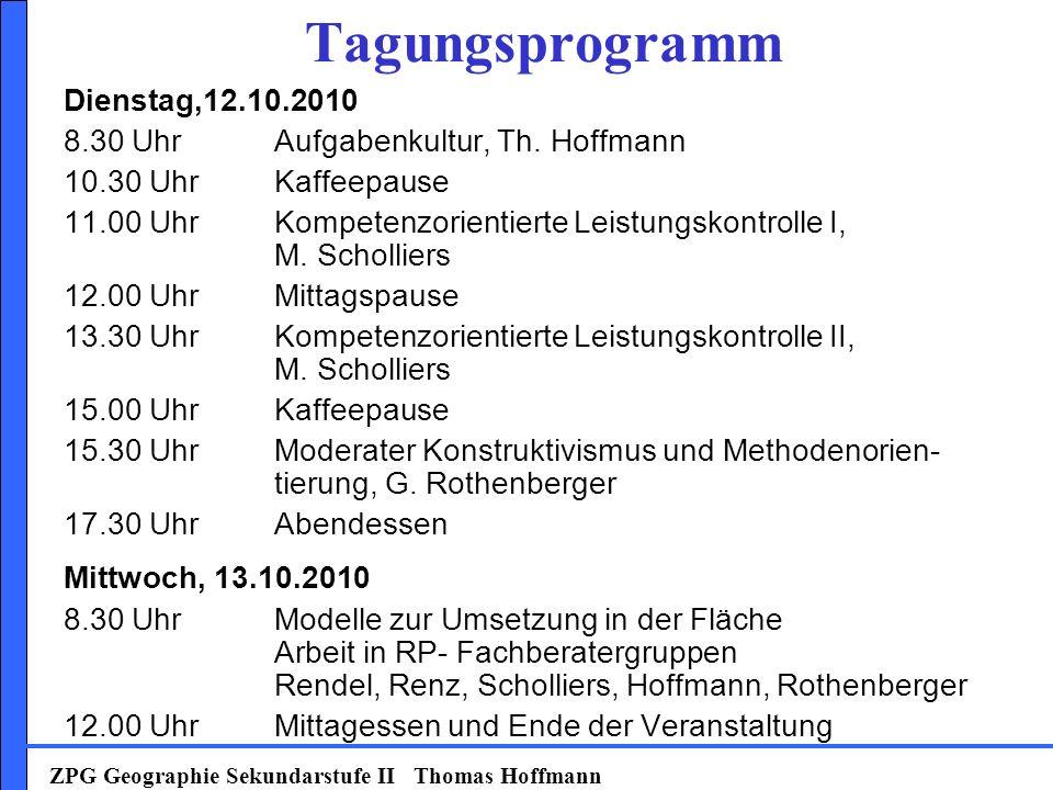 Tagungsprogramm Dienstag,12.10.2010