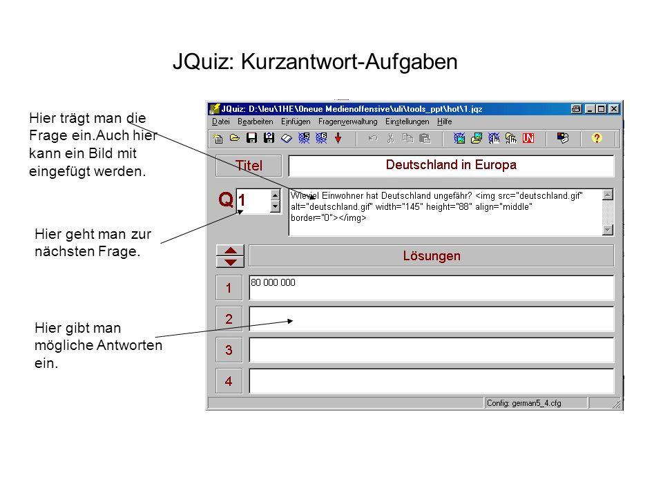 JQuiz: Kurzantwort-Aufgaben