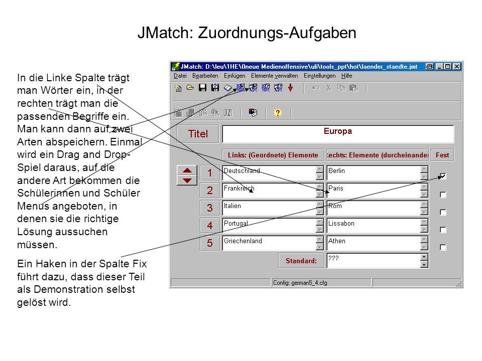 JMatch: Zuordnungs-Aufgaben