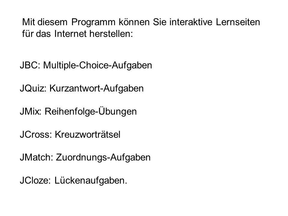 Mit diesem Programm können Sie interaktive Lernseiten für das Internet herstellen: