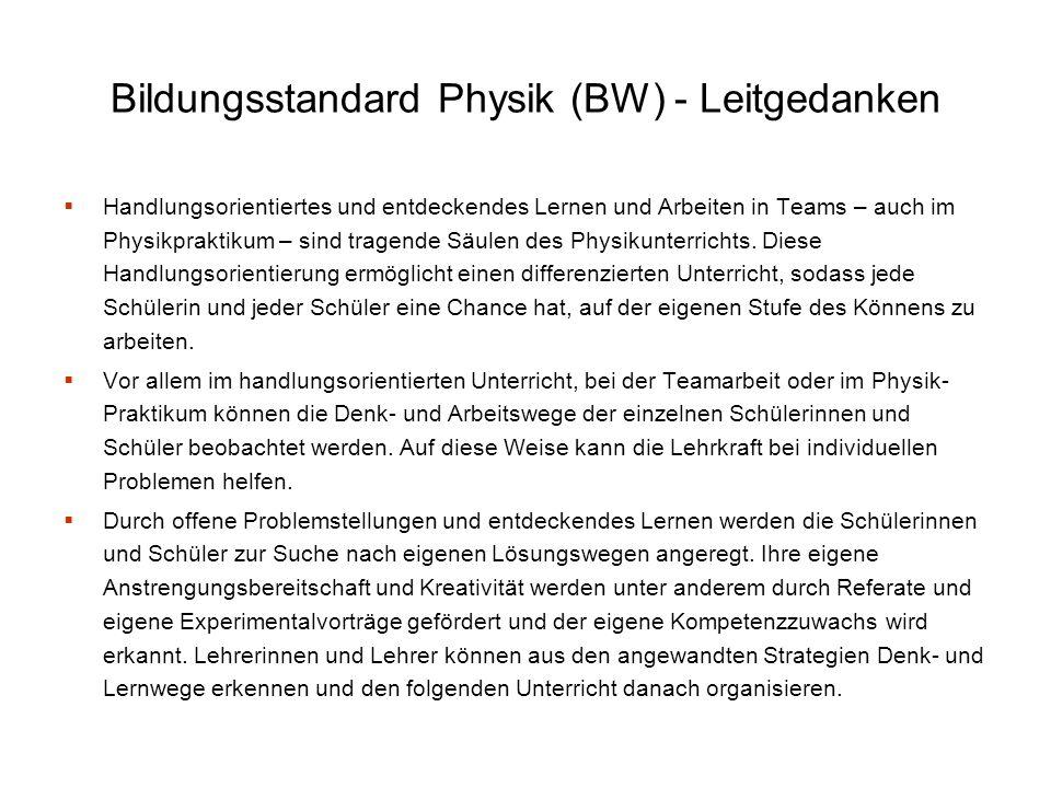 Bildungsstandard Physik (BW) - Leitgedanken
