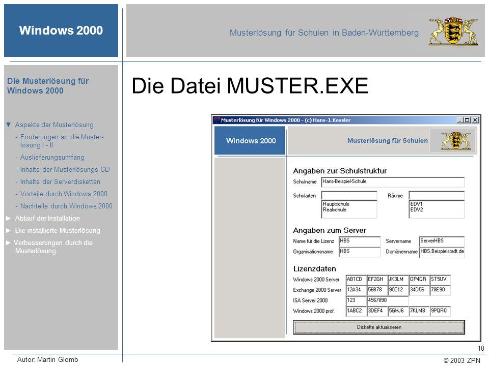 Die Datei MUSTER.EXE ▼ Aspekte der Musterlösung