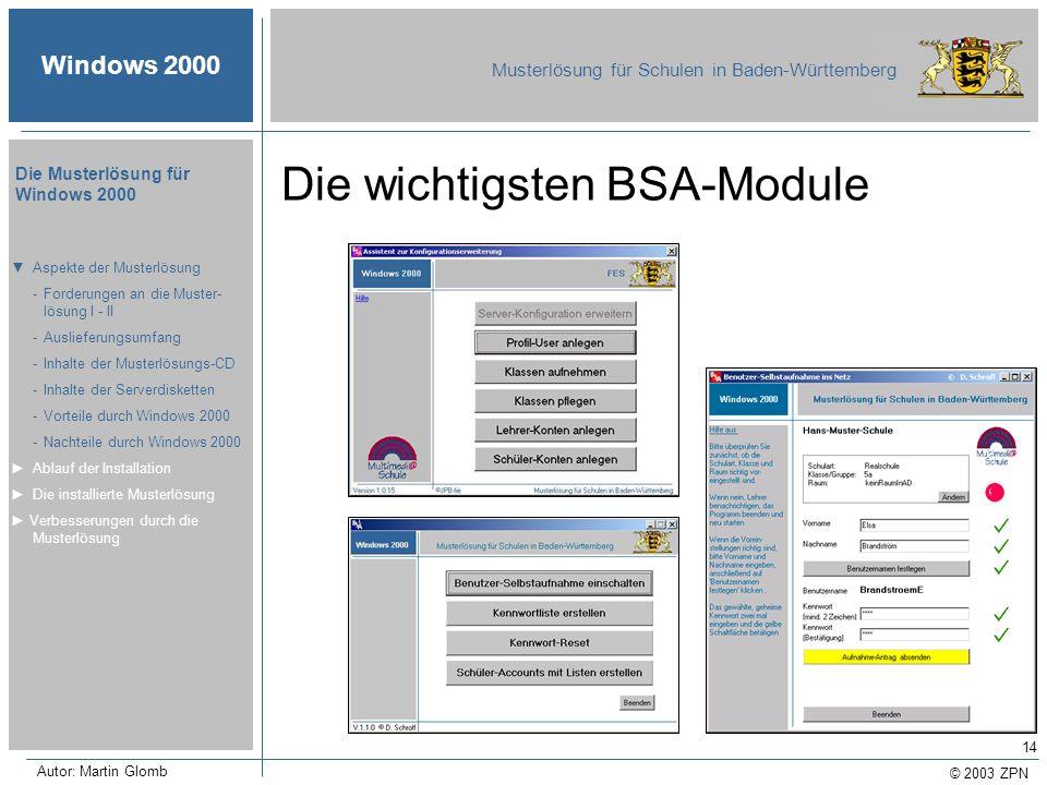 Die wichtigsten BSA-Module