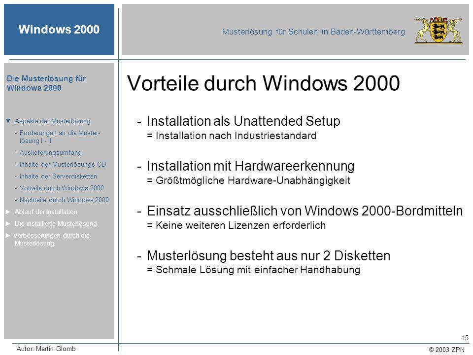 Vorteile durch Windows 2000