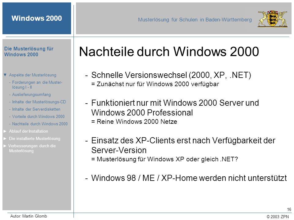 Nachteile durch Windows 2000