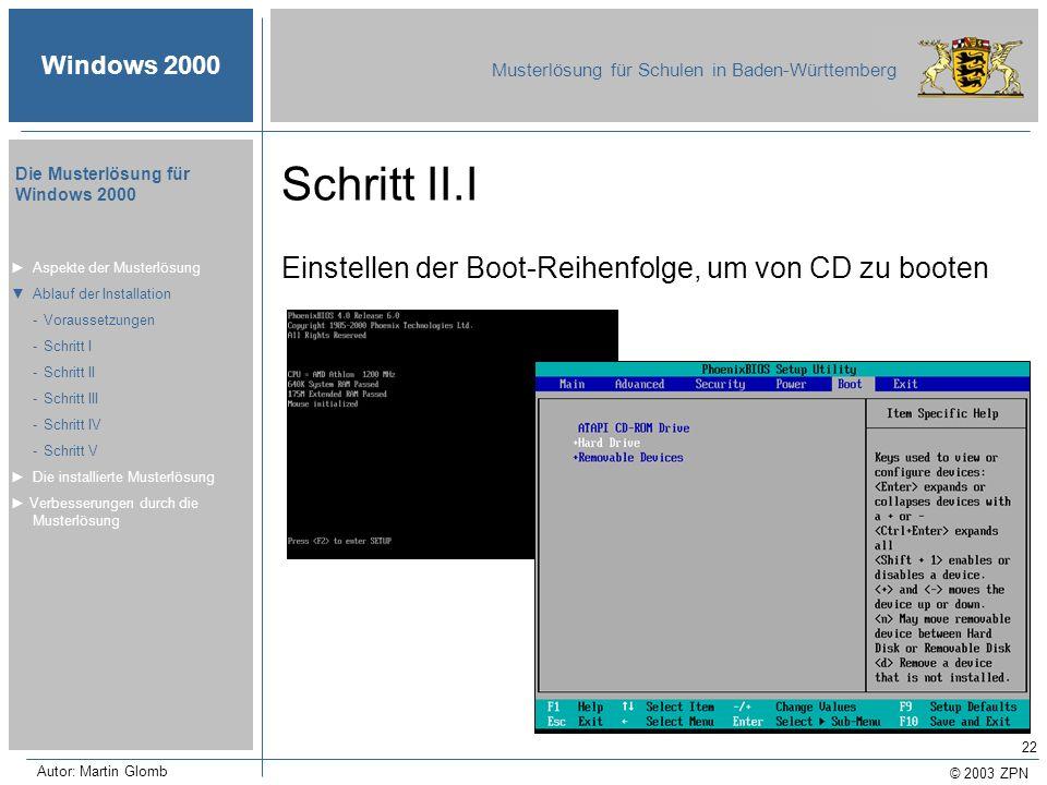 Schritt II.I Einstellen der Boot-Reihenfolge, um von CD zu booten